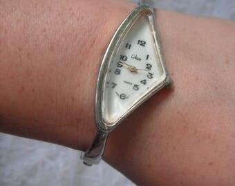 Vintage Asymmetrical Triangle Wrist Watch Collezio Cuff Bracelet Silver Tone