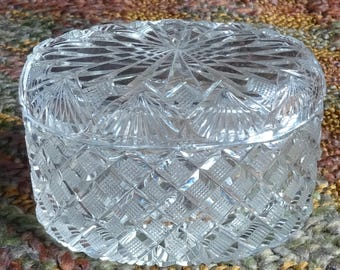 Lidded Oval Cut Glass Box - NO Known Chips or Cracks - 7 inch long x 4 inch wide x 3 inch high - Crystal????
