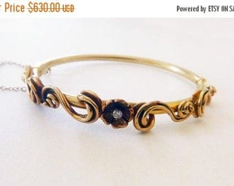 ON SALE Art Nouveau style 14k solid yellow gold small diamond scroll flower bangle bracelet circa mid-century