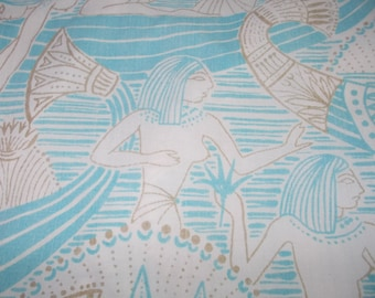 Vintage Bed Sheet Set Fitted sheet with Flat  1980s  Egyptian Theme  Blue and Gold  Full/Double Size