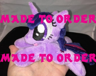 Made To Order -- 6 inch mini Unicorn OR Alicorn Twilight Sparkle beanie plushie