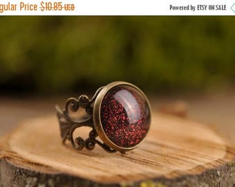 20% OFF Filigree dark red ring, adjustable ring, statement ring, antique brass ring, glass dome ring, antique bronze ring, jewelry gift for