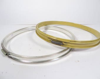 Vintage Metal Embroidery Hoops - Set of 2 Metal Sewing Hoops