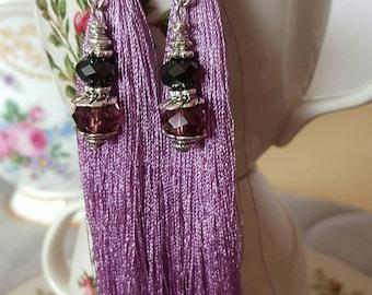 Handmade convertible tassel earrings with crystal embellishments. Mauve tassel earrings. Victorian style earrings