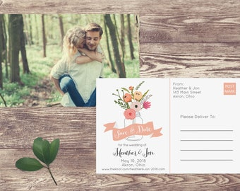Boho Save The Date Postcard, Floral Postcard Save the Date, Photograph Save the Date, Save the Date Postcard with Mason Jar and Flowers