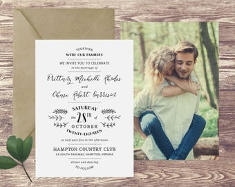 The Hampton Wedding Invitation with Photograph and RSVP, Photograph Wedding Invitations, Wedding Invitations with Picture, Elegant Wedding