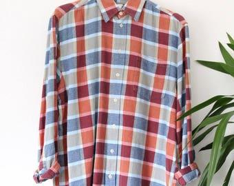 Red blue & beige VINTAGE Plaid flannel Check Shirt