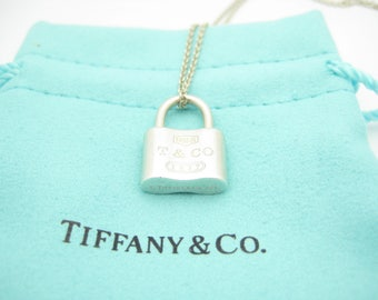 Tiffany & Co. Sterling Silver 1837 Collection Lock Pendant Necklace 16""