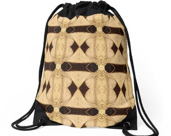 Drawstring Shoulder Bag - Backpack w/Unique Solar Etched Design ~ 'Palms' / Sophisticated, Classy, Unique — Solar Art ~ Solar Pyrography