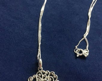 Vintage Sterling Tree Of Life Necklace