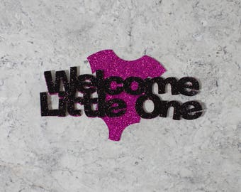 welcome little one cake topper; Baby shower cake topper; Onesie cake topper