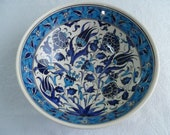 "Turkish ceramic bowl, 10"" bowl, serving bowl, Iznik design, blue and white floral, birthday gift, wedding gift, fruit bowl, decorative bowl"