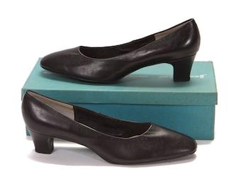 Deadstock 1960s Black Leather High Heel Pumps by Joyce -Size 10B