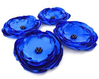 Large Royal Blue Fabric Flowers, Set of 4 Flowers, Wholesale Flowers, Headband Flowers, Flower Supply, Dark Blue Flowers, Wedding Flowers