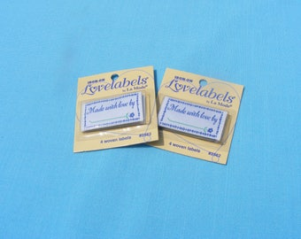 Iron-on Sewing Finishing Labels -Made with love by (set of 8)
