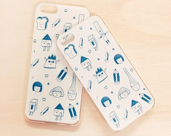 Blue Crayon - Clear Phone case - iPhone 7 Plus, iPhone 7, iPhone 6, iPhone 6 Plus