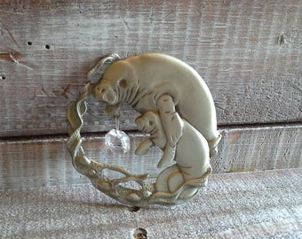 Vintage Pewter Manatee Window Cling