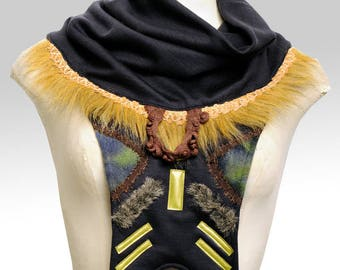 Collar snood ethnic black, earth colors