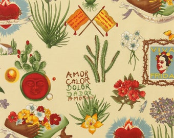 End of Bolt - 13 inches x 44 inches Viva Frida Alexander Henry Fabric in Parchment - 100% cotton Frida Kahlo
