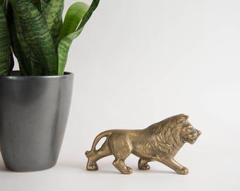 Vintage Brass Lion Figurine Brass Decor Brass Animal