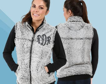 Monogrammed Sherpa Vest, Women's Monogrammed Vest, Sherpa Vest, Plus Size Available, Monogram Sherpa Vest, Personalized Vest, Custom Sherpa