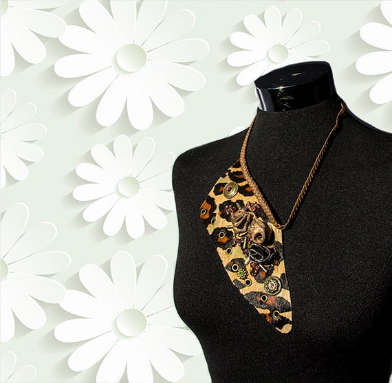 Leather necklace,  recycled genuine leather necklace for woman, bib statement necklace
