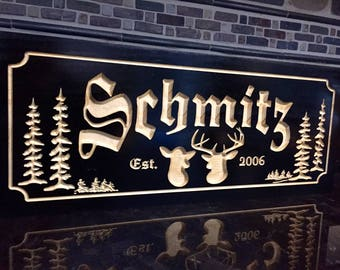 Personalized Cabin Signs, Family Last Name,  Pine Tree, Buck and Doe Deer Silhouette, Carved Wooden Sign Cottage Cabin Decor Old World Font