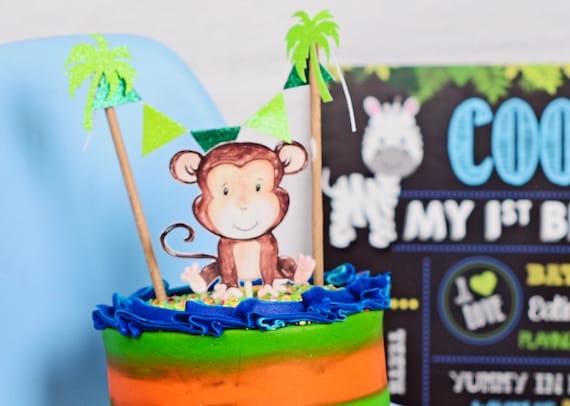 Monkey Cake Topper Baby Shower Cake Topper New Baby Cake Topper