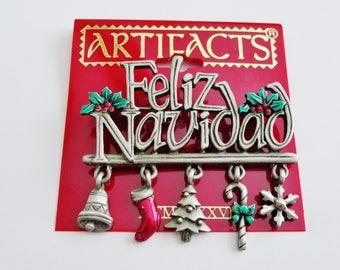 Feliz Navidad JJ Jonette Christmas Holiday Brooch Pin With Charms