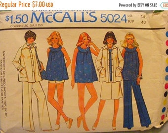 """41% OFF 1970's Maternity Jacket, Top, Skirt, Pants, Shorts, Panties Uncut McCall's Sewing Pattern 5024 Size 18 Bust 40"""""""