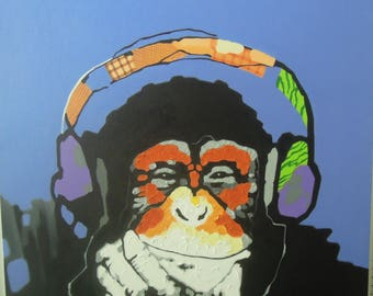 """Monkey painting oil painting on canvas 40""""X40"""""""