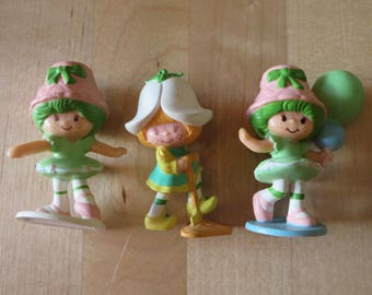 Vintage Strawberry Shortcake Strawberryland Miniatures Lime Chiffon & Mint Tulip lot of three