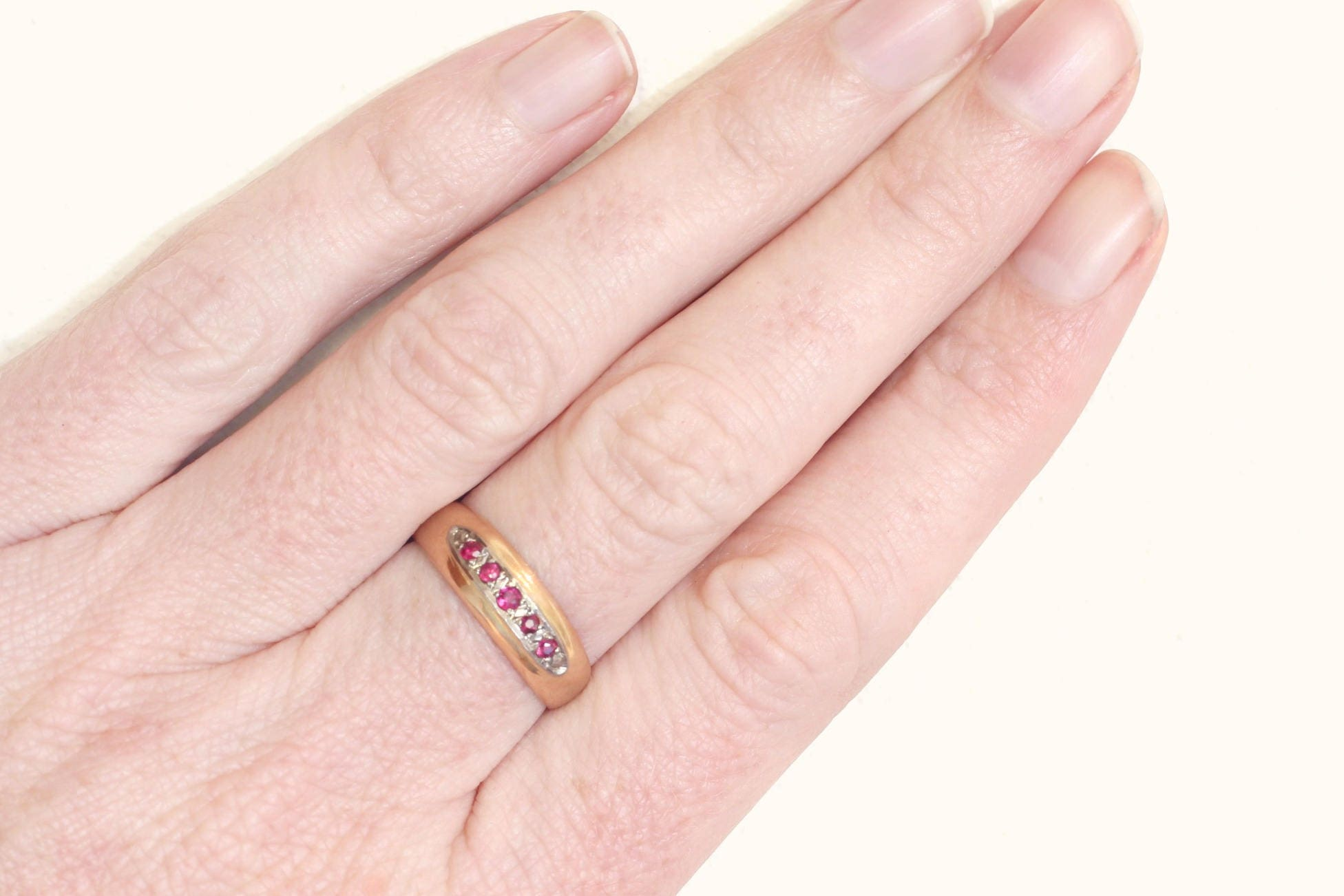 Antique Victorian Gold Band Ring with Applied White Gold Panel Set ...