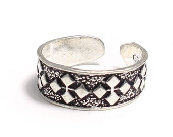 Plaid pattern 925 sterling silver toe ring