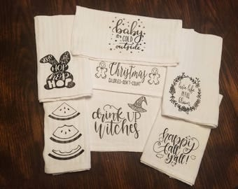 Custom Tea Towels, Kitchen Towels, Flour Sac Towels, Wedding Gift, Dish Towels,