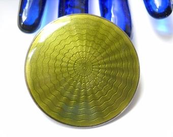 Norway Brooch Finn Jensen 925S Sterling Guilloche Olive Green Enamel Shield Mid Century Modernist Folk Oslo