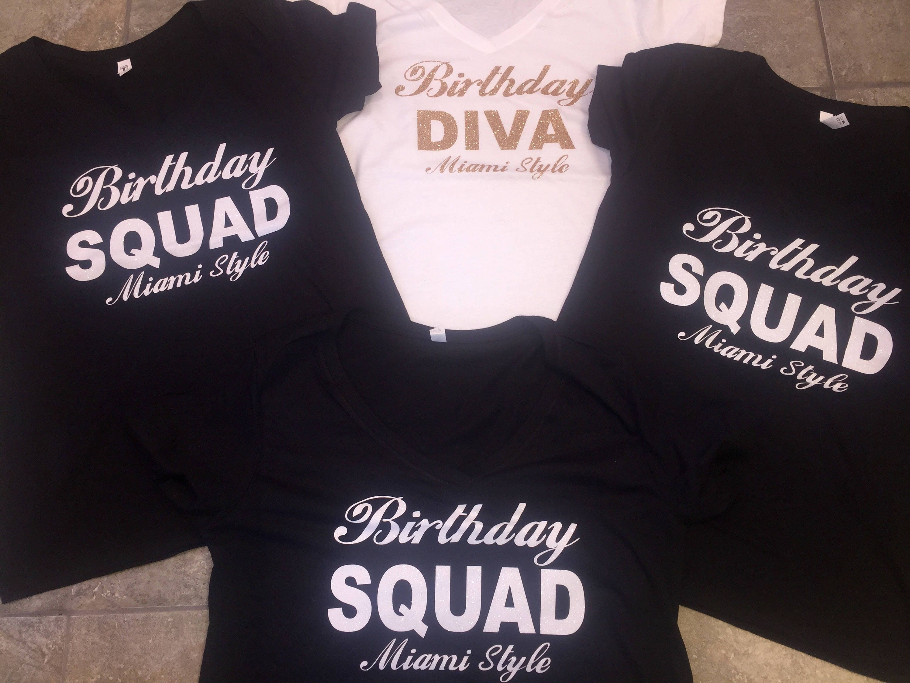 Birthday divas squad shirts custom name and city for Bucket squad gold shirt