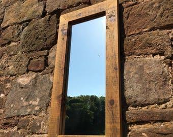Rustic mirror, Reclaimed Wood Mirror,