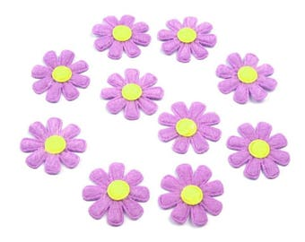 10 daisies in purple yellow felt 27 mm