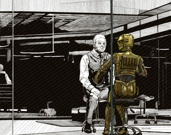 Westworld v Star Wars C3P0 Mashup Parody - Print Poster Canvas - Gift TV Movie Fan West World C3PO Droid Funny Geek Digital Artwork Hopkins