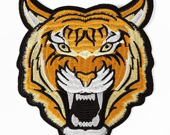 Tiger Embroidered Iron-On Applique Patch, Embroidery Patch, 7-1/4'' x 6-1/2'' by 1 pc, TR-11300