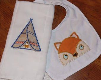 Woodland Theme - Baby Shower Gift Set - Baby Clothes - Gender Neutral -  Bib and Burp Cloth Set  - Baby Shower Gift - NewBorn Gift - Fox