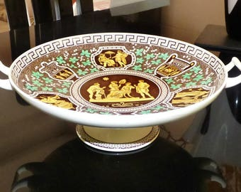 England Copeland Spode Greek Brown and Yellow Pattern Pedestal Cake Stand  ''Iphigenia Being Told of the Death of Agamemnon'' RARE