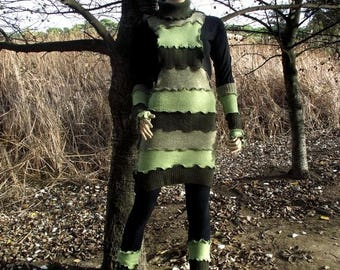 SALE Recycled wool jersey fabric dress Green dress Upcycled dress OOAK