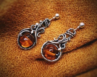 Silver jewelry jewel wire wrap wrapped gift for Space fiction alien Floral Style  yellow amber earrings