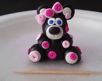 Handmade Polymer Clay Sculpture Roses Bear Wedding Cake Topper Gift OOAK Pink Black