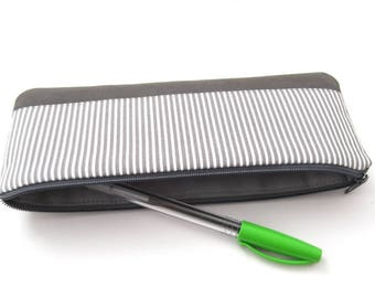 Small pencil case, cotton, vegan leather, gray, white, stripes