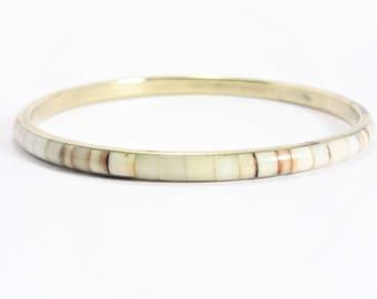 Vintage Inlaid Shell Bangle Bracelet Brass