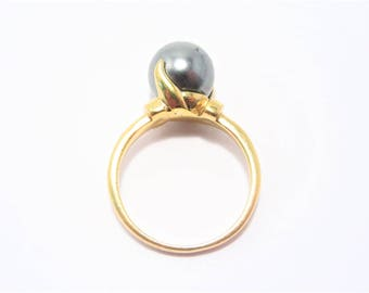 Vintage Faux Pearl Gold Vermeil Ring Size 8