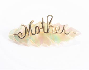 Vintage Mother of Pearl Leaf Wire Wrapped Brooch